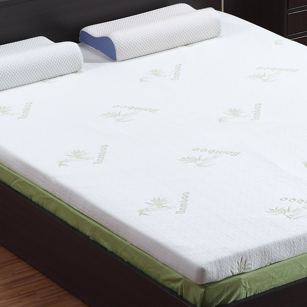 LANGRIA 3-Inch Full Mattress Toppers Memory Foam Bed Topper CertiPUR-US Certified with Removable Zippered Hypoallergenic Bamboo Cover and Non Slip Bottom
