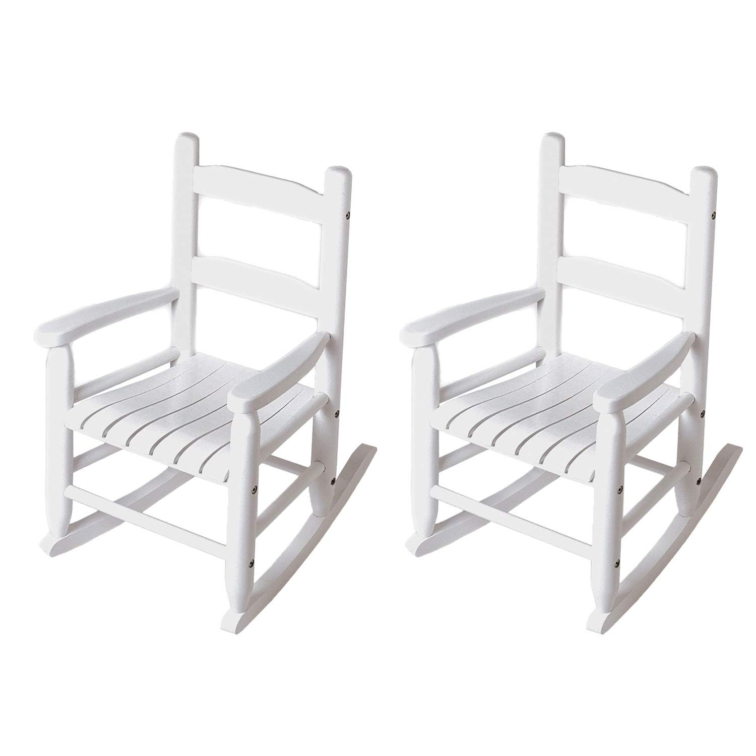 Lipper Child's Eco Friendly Wooden Furniture Rocking Chair, White (2 Pack) by Lipper International