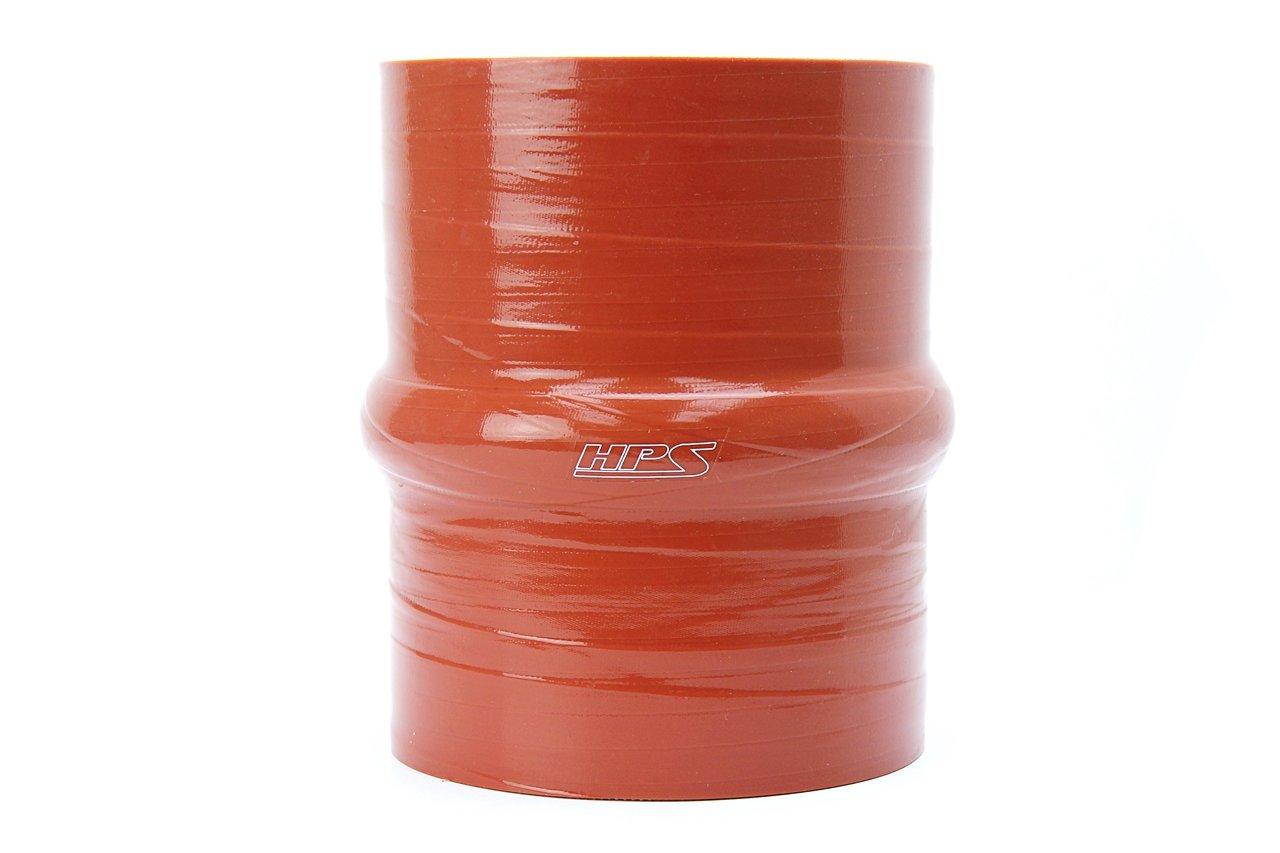 HPS 3.5'' ID, 4'' Length, Silicone Hump Coupler Hose, Ultra High Temp 4-Ply Aramid Reinforced, 35 Psi Max. Pressure, 500F Max. Temperature, SHC-350-L4-HOT, Silicone, Orange
