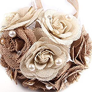 Gofypel Wedding Bouquet Flower Bouquet Bride Burlap with Lace and Pearls 104