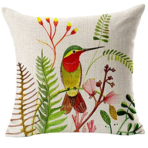 Hummingbird Pc (16 x 16 inch Cotton Linen Hummingbird Throw Pillow Case Decorative Natural Birds Covers For Sofa House Decor Decoration Valentine's Day Gift Mother's Day Gift)