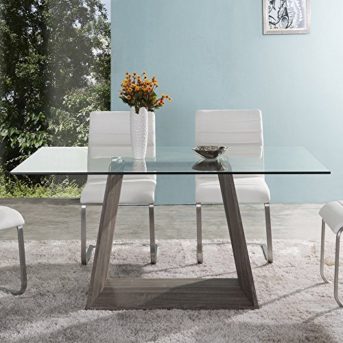 Armen Living LCBRDIGLTO Bravo Dining Table with Clear Glass and Sonoma Wood Finish