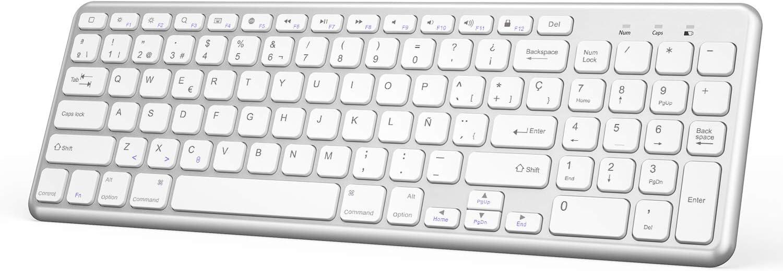 OMOTON Teclado Bluetooth, Teclado Inalámbrico Compatible con iPad 10.2/iPad Air/iPad Mini/iPad Pro y iPhone, Teclado de Todas Sistemas de iOS, Teclado en Español, Blanco