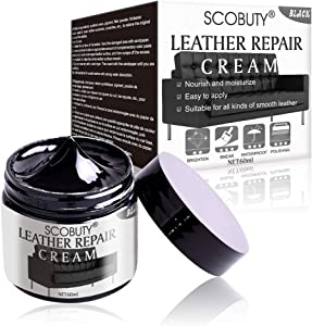 SCOBUTY Leather Repair Kit,Leather Restorer,Leather Repair Cream,Leather Scratch Repair and Protect Paint Cream for Car Seats,Sofas, Couches,Leather Coats,Black