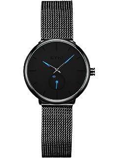 b2968de9bca2 Alienwork Reloj Mujer Relojes Acero Inoxidable Negro Analógicos Cuarzo  Impermeable Ultra-Delgada Clásico