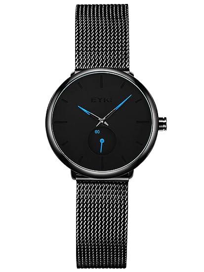 Alienwork Reloj Mujer Relojes Acero Inoxidable Negro Analógicos Cuarzo Impermeable Ultra-Delgada Clásico: Amazon.es: Relojes