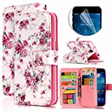 Samsung Galaxy S4 Case, Luxury Dual Wallet Case [9 Card Holder] Premium PU Leather Multifunctional Embossing Pattern Book Style Magnetic Flip Stand Feature Cover Slim Protective Money Pocket Bumper - Peony