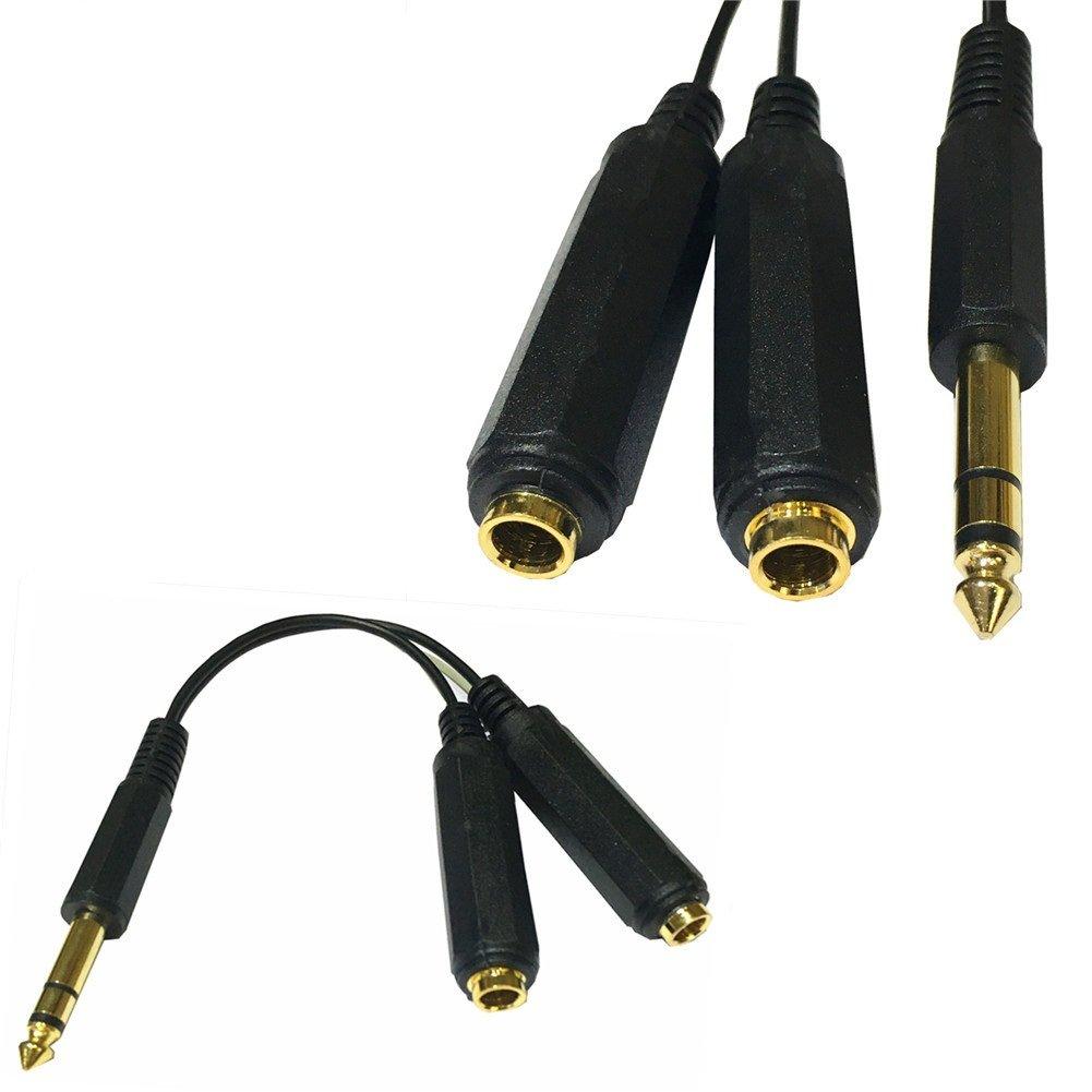 Nightwolf /® 20cm 0.6ft dorato placcato 6.35mm 1//4 pollici Mono TRS maschio a doppio 6.35mm 1//4 pollici Mono TS femmina Y-Splitter Cable nero