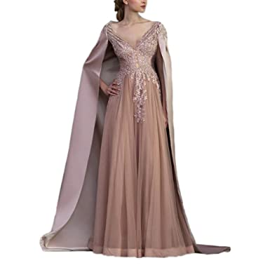 WDE Womens Pink Long Muslim Evening Prom Dresses Arabic Gowns With Cape ...