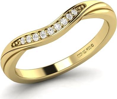 Wishbone Ring Yellow Gold Eternity Wedding Ladies Cubic Zirconia Hallmarked