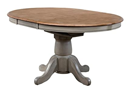 Amazon.com - Oval Wood Extendable Dining Table - Pedestal ...