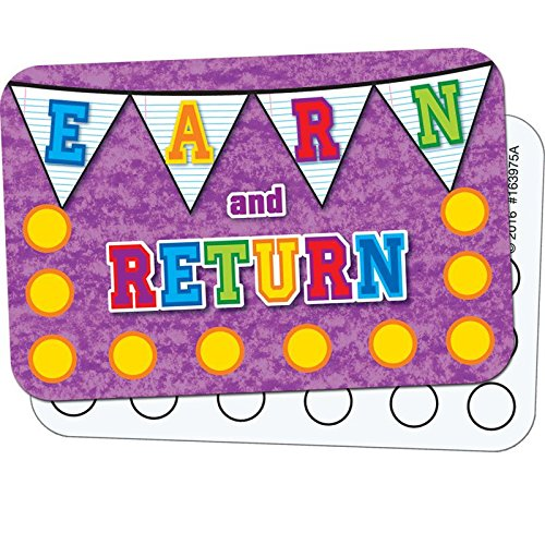 Really Good Stuff School Days Pennants Earn-and-Return Punch Cards