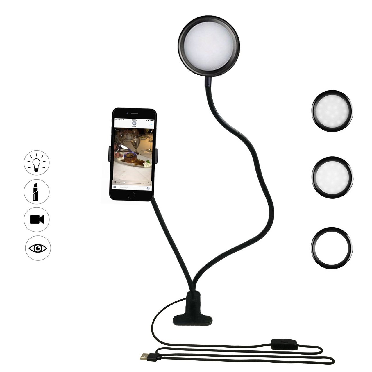 Smarki Cell Phone Holder Mount with Selfie LED Light Ring for Live Streaming Desk Reading Lamp Flexible 360°Rotating Clip Bracket for iPhone 8/X/7/6 Plus,Samsung,Huawei and more (One Color Light)