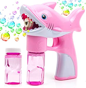 Toytykes Shark Bubble Gun Blower for Kids, Non-Toxic Leak-Resistant Easy Refill Bubble Machine Blaster Toy with Soap Solution for Party Supplies, Summer Toy, Outdoors Activity, Birthday Gift, Easter