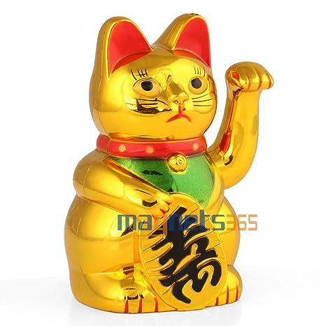 Chino llamando saludando gato dorado figura de Lucky riqueza ...