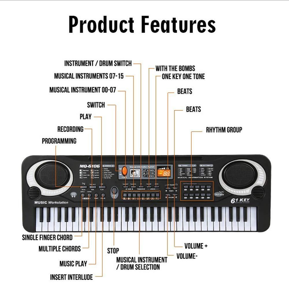 Muslady 61 Keys Black Digital Music Electronic Keyboard Key Board Electric Piano Kids Gift Musical Instrument by Muslady (Image #2)