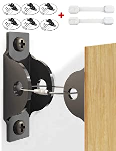 Furniture Anchors, Furniture Straps (6 Pack+2 Safety Locks) - Metal Furniture Anchors for Baby Proofing Anti Tip Child Safety, Adjustable Furniture Wall Anchors Furniture Straps Earthquake Resistant
