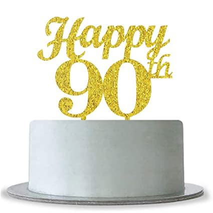 Image Unavailable Not Available For Color Gold Happy 90th Birthday Cake Topper