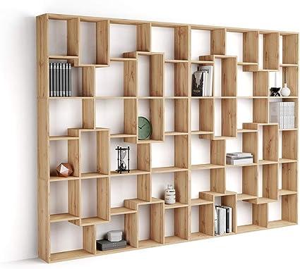 Mobili Fiver, Estantería XL Iacopo (236,4 x 321,6 cm), librería Color Madera Rustica, Aglomerado y Melamina, Made in Italy