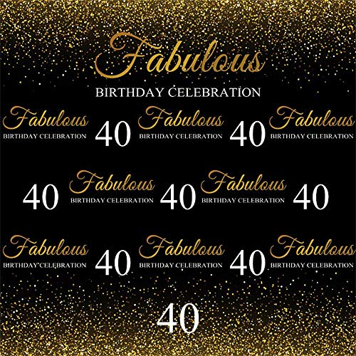 40th Birthday Backdrop (AOFOTO 8x8ft Fabulous 40th Birthday Backdrop Cloth Gold Small Sequins Lady Mother Woman Adults Forty Years Old Fortieth Bday Party Photography Background Vinyl Photo Studio)