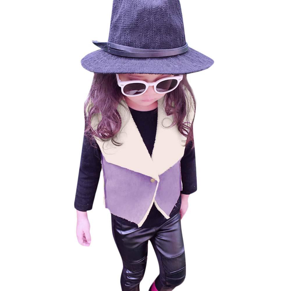 6087b0740 Tronet Kids Girls Winter Warm Thick Jacket Faux Leather Waistcoat ...