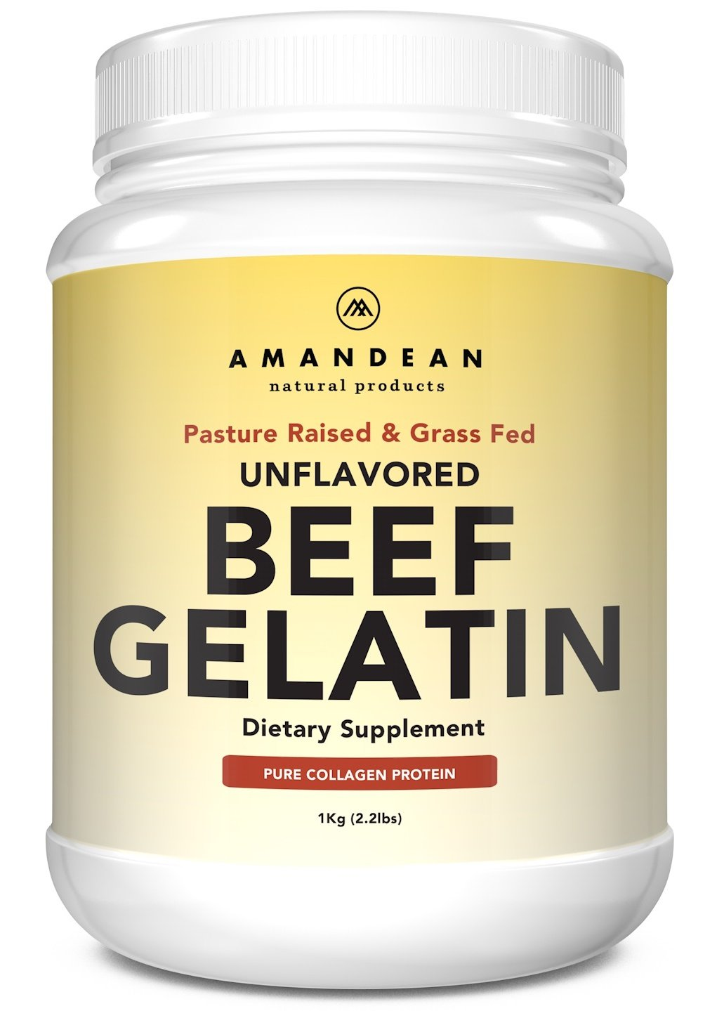 Premium Grass Fed Beef Gelatin Powder (XL 2.2lbs) | Unflavored | Anti-Aging Collagen Protein Supplement | 18 Amino Acids for Healthy Skin, Hair, Joints, Gut | Paleo Friendly | Gluten Free & Non GMO by Amandean