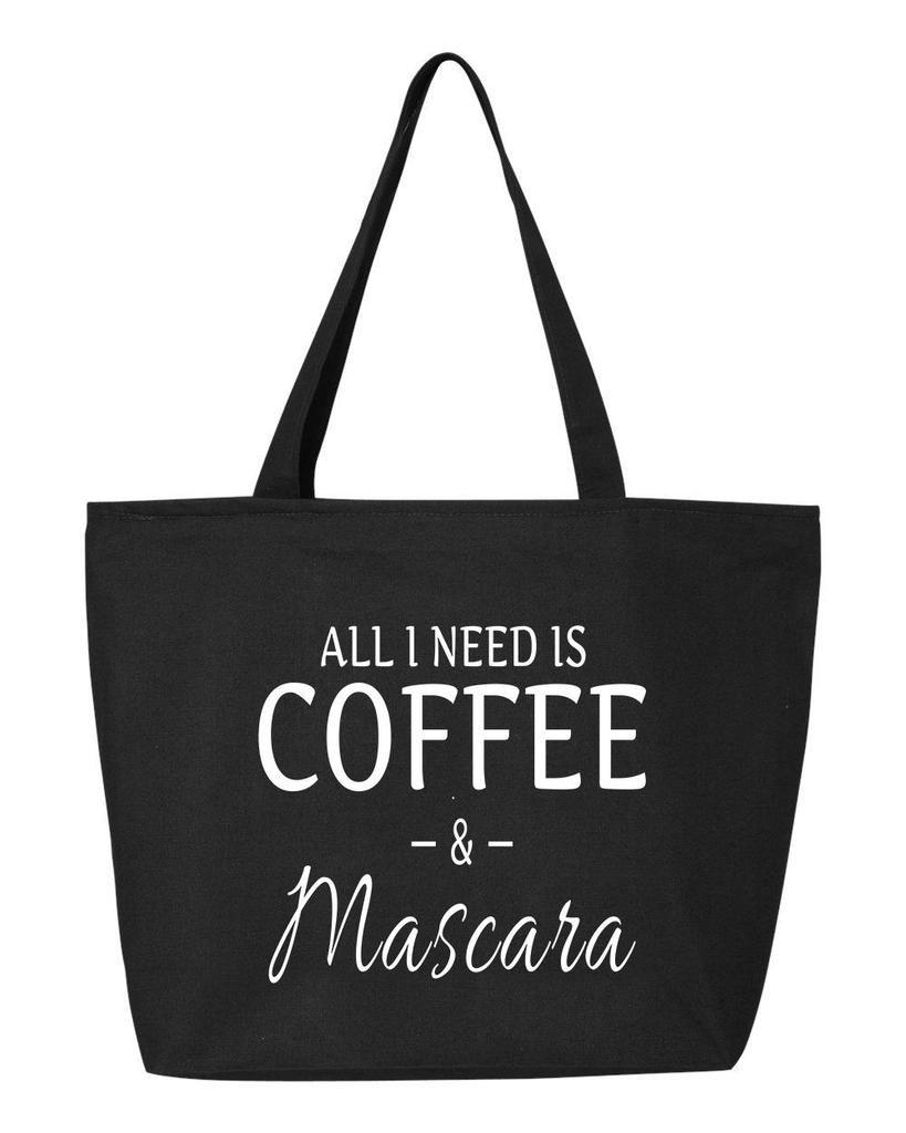 shop4ever All I Need Is Coffee &マスカラHeavy Canvas Tote with Zipper Sayings再利用可能なショッピングバッグ12 oz Zip 25 oz ブラック S4E_1215_CoffeeMasc_TB_Q611_Black_3 B06Y2L4JRP ブラック 3