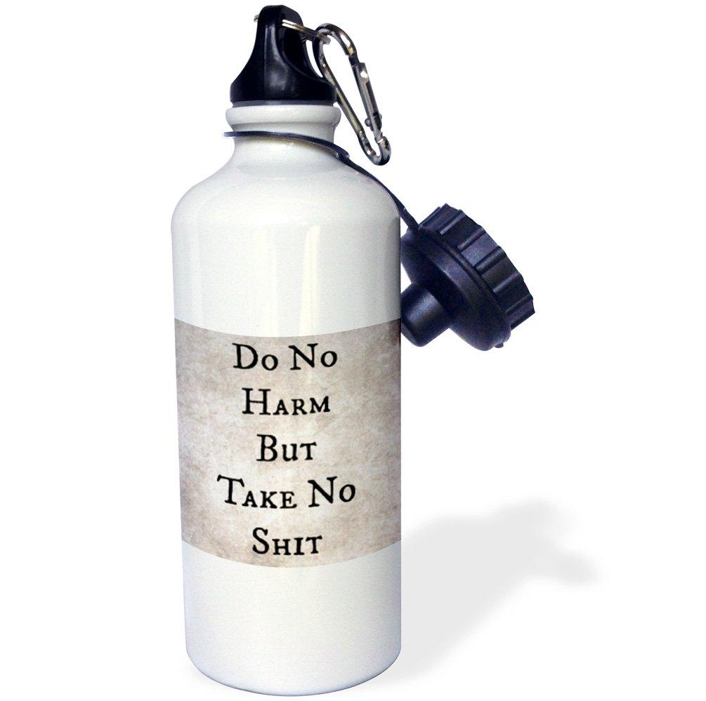 White 21 oz 3dRose wb/_220104/_1Do no harm by take no shit Sports Water Bottle
