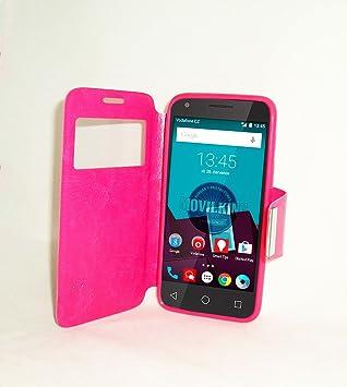FUNDA CON VENTANA Y SOPORTE ESTILO LIBRO AGENDA PARA Vodafone Smart Speed 6 COLOR ROSA - Envio por mensajeria URGENTE