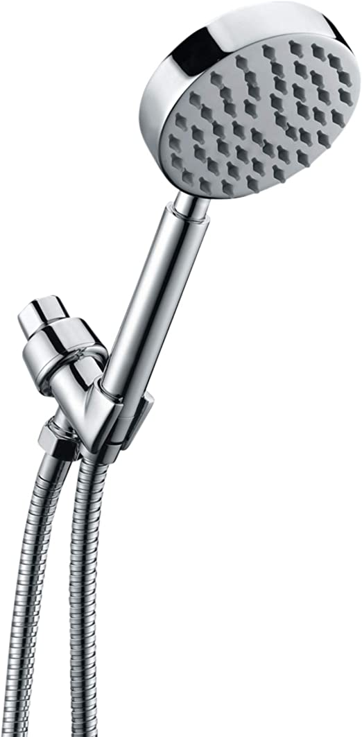 All Metal Hand Held Shower Head With Hose And Holder Polished