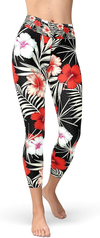 Hibiscus Flower Yoga Capri Leggings Floral Pattern Print High Waisted Workout Capris