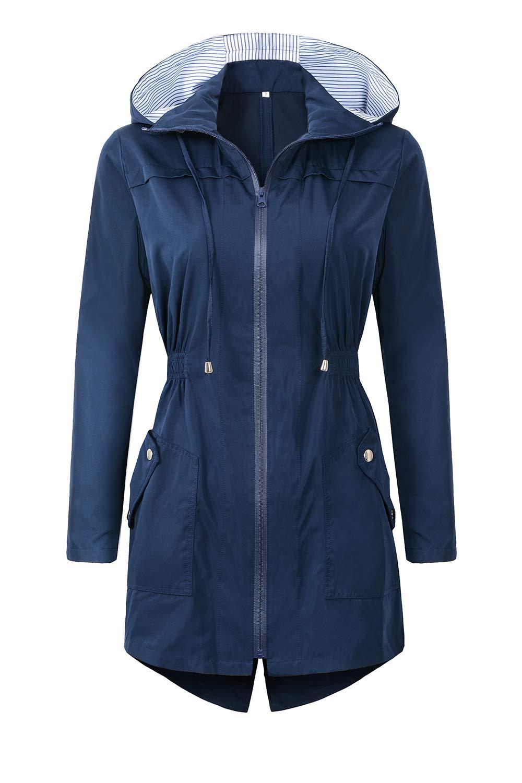 BBX Lephsnt Womens' Waterproof Lightweight Raincoat Hooded Outdoor Hiking Long Rain Jacket