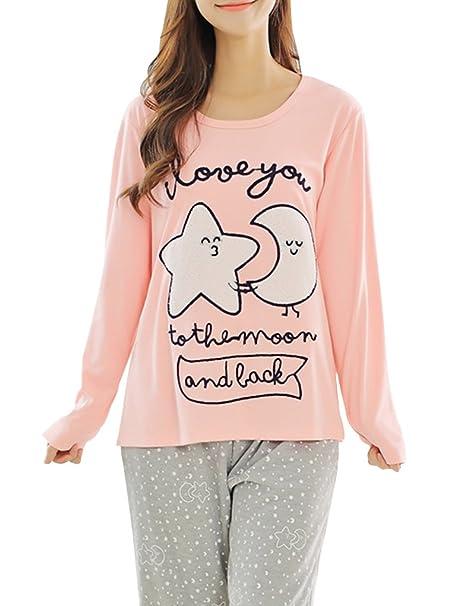 Ventelan Mujer Suelto Manga Larga pijamas camisón Fashion Star & Luna Pjs Set - Rosado -