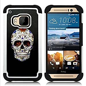 BullDog Case - FOR/HTC ONE M9 / - / SKULL CROSS CHRISTIAN DEATH BLING BIKER /- H??brido Heavy Duty caja del tel??fono protector din??mico - silicona suave