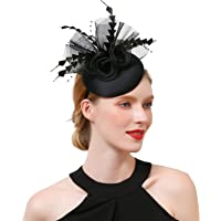 Z&X Ladies Girls Flower Feather Headband Hair Clip Mesh Fascinator Hat for Wedding