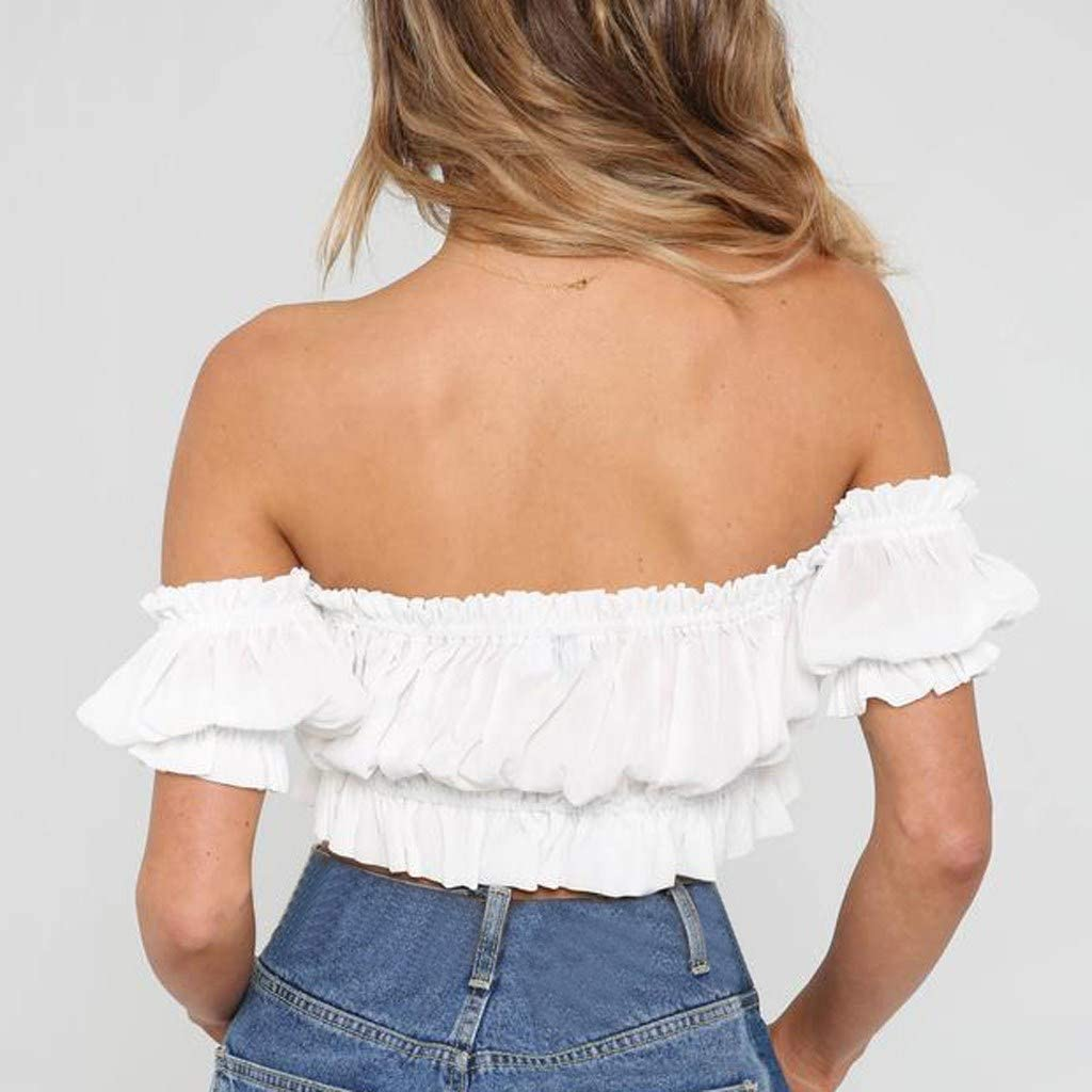 Tank Tops for Women Grils Vacation Casual Off-Shoulder Pleated Blouses Crop Tops T-Shirts Strap Vest Tank Camis ODGear