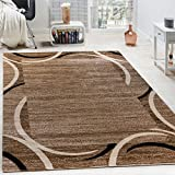 Paco Home Living Room Rug Designer Border Flecked Brown Black Cream Unbeatable Deal, Size:120x170 cm