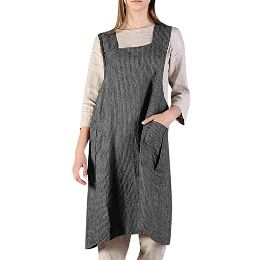 Amazon.com: Liraly Women Plus Size Pinafore Dress, Cotton Linen ...