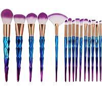 Tenmon 15pcs Unicorn Shiny Gold Makeup Brush Set Professional Foundation Powder Cream Blush Brush Kits (Blue)