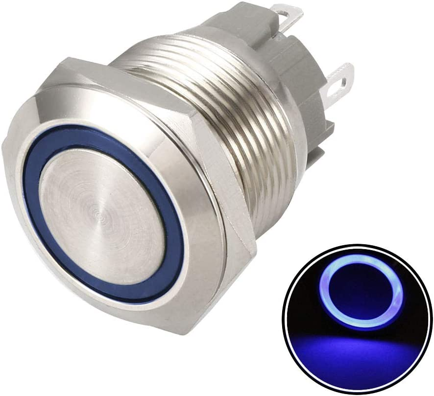 uxcell Latching Metal Push Button Switch 19mm Mounting Dia 1NO 12V Green LED Light