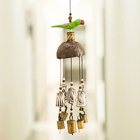 ExclusiveLane Parrot Home Decorative Wind Chime Cum Outdoor Garden Wall Hanging with Kutchh Bells (Multicolour, Wood)