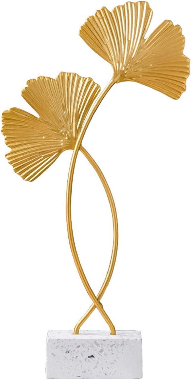 HEYJUDY Iron Wall Sculptures, Gingko Leaf Decor European Iron Art Gold Gingko Leaf Miniatures Home Desktop Ornament for Living Room Bedroom Office Decoration