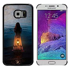 Exotic-Star ( Girl Woman Orange Light Meaning ) Fundas Cover Cubre Hard Case Cover para Samsung Galaxy S6 EDGE / SM-G925 / SM-G925A / SM-G925T / SM-G925F / SM-G925I