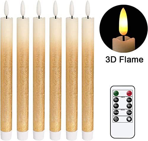 DRomance LED Flameless Taper Candles Battery Operated with Remote and Timer, Set of 6 Real Wax Warm Light 3D Wick Flickering Window Candles 0.78 x 9.64 Christmas Home Decoration Gold Gradient