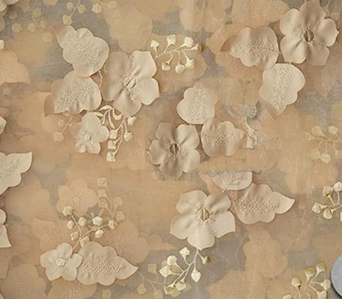 "Sold by the yard 54/"" Wide Organza Floral Applique Fabric CHAMPAGNE"