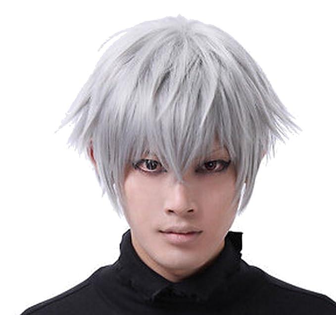 Aplus Tokyo Ghoul Anime Ken Kaneki Cosplay Wig Silver White Hair