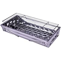 OUNONA Stainless Steel Camp Stove Foldable Charcoal Barbecue Burner Grill