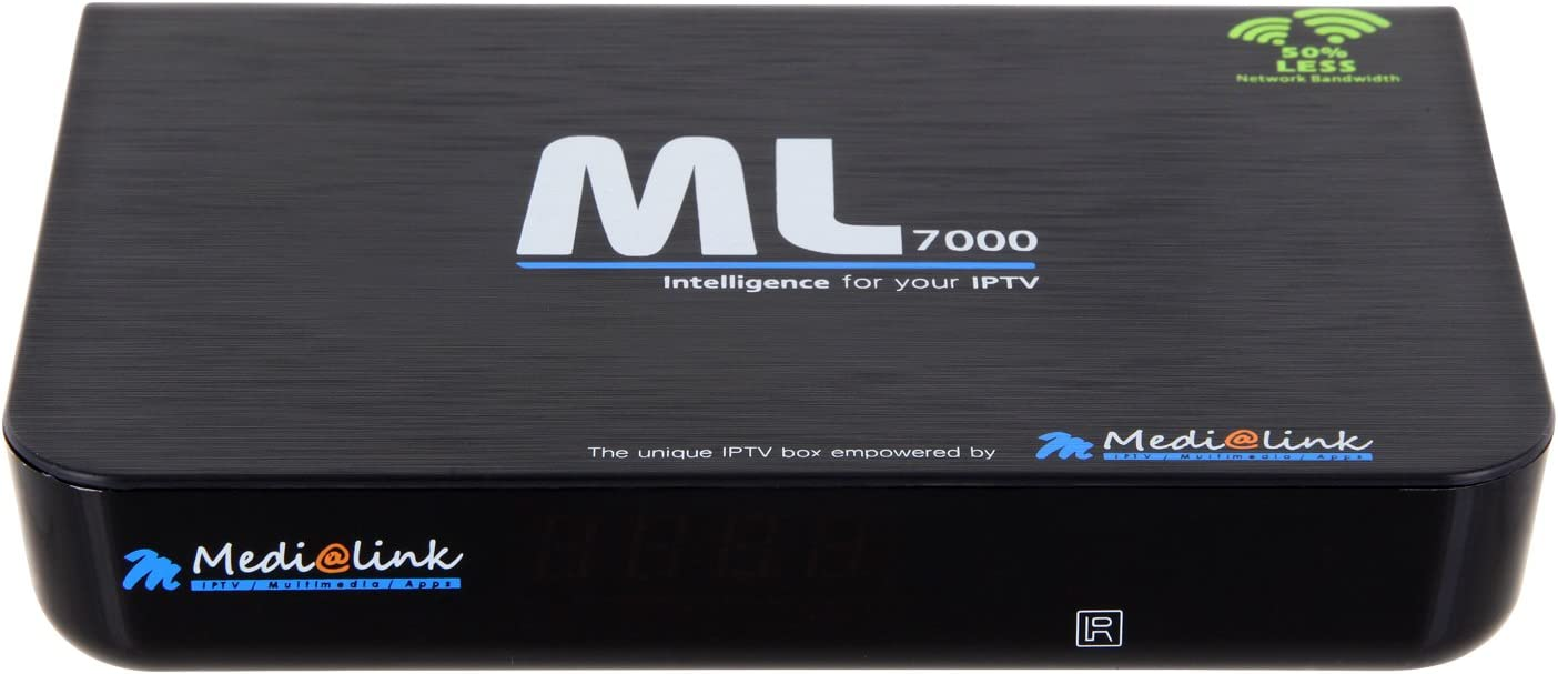Media Link ml 7000 IPTV settop Box Multi Media Player Internet TV IP Receptor + Cable HDMI 1 Metro + 2 mandos a distancia, Negro, IPTV Portal, multikom de DELTASAT GmbH &