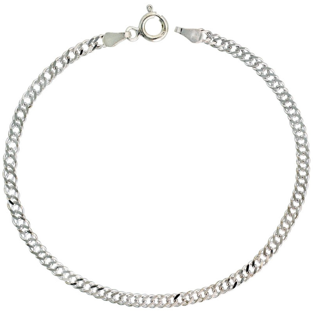 Sterling Silver Anklet Double Curb Chain 3 mm Nickel Free Italy, 10 inch