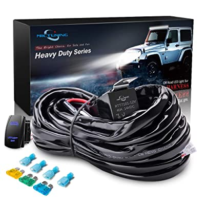 MICTUNING HD 14AWG 300w LED Light Bar Wiring Harness Fuse 40 Amp Relay ON-OFF Rocker Switch Blue(1Lead): Automotive